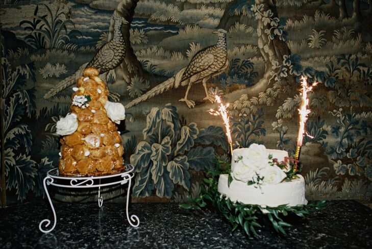 Following a six-course, four-hour traditional French dinner, Liv and Jesse treated their guests to one last indulgence: classic French croquembouche and a vanilla wedding cake.