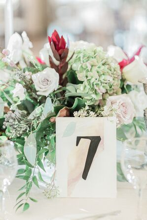 Vintage-Inspired Centerpieces and Watercolor Table Numbers