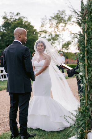 Bride and Groom at Wedding Ceremony at at The Hempstead House in Sands Point, New York