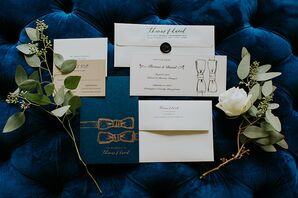 Navy Blue and Gold Stationery Suite with Bow Tie Motif