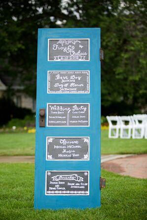 Blue Upcycled Ceremony Program Door