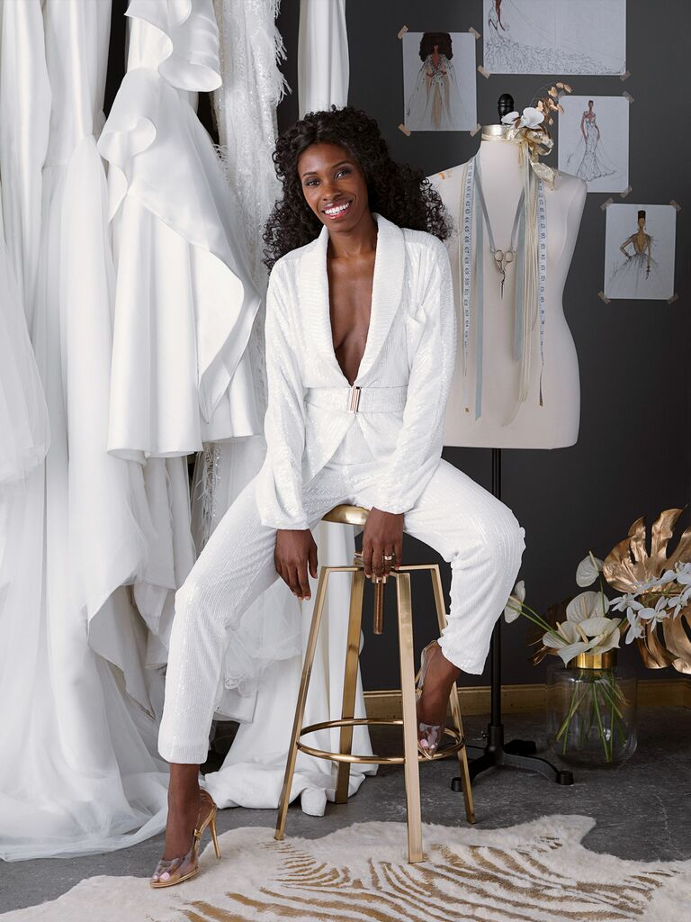 Andrea Pitter in Pantora white sequin suit