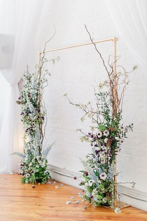 Whimsical Wedding Arch with Branches, Anemones and Astilbes