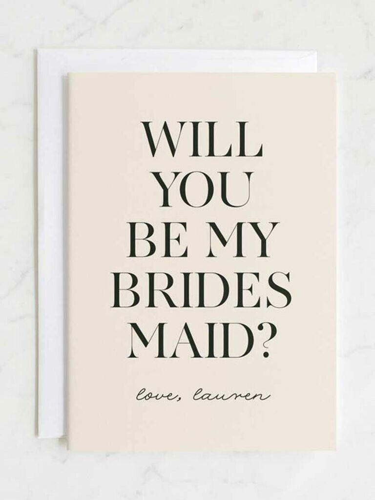 simple will you be my bridesmaid card