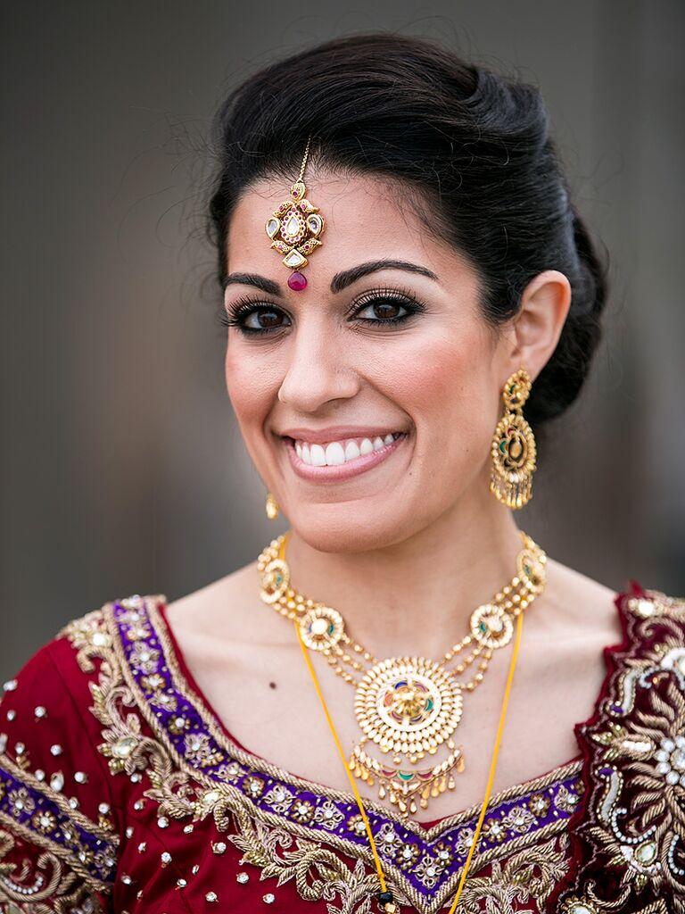 Bold wedding makeup with brow bone highlighting