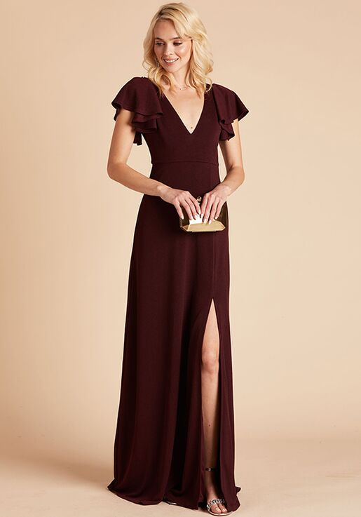 Birdy Grey Hannah Crepe Dress in Cabernet V-Neck Bridesmaid Dress
