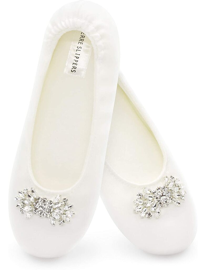 amazon white ballet flat bride slippers with jewels