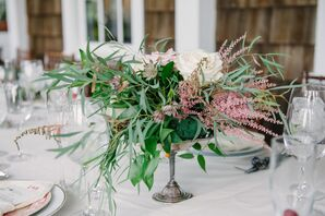 Vintage Astilbe, Rose and Greenery Centerpieces