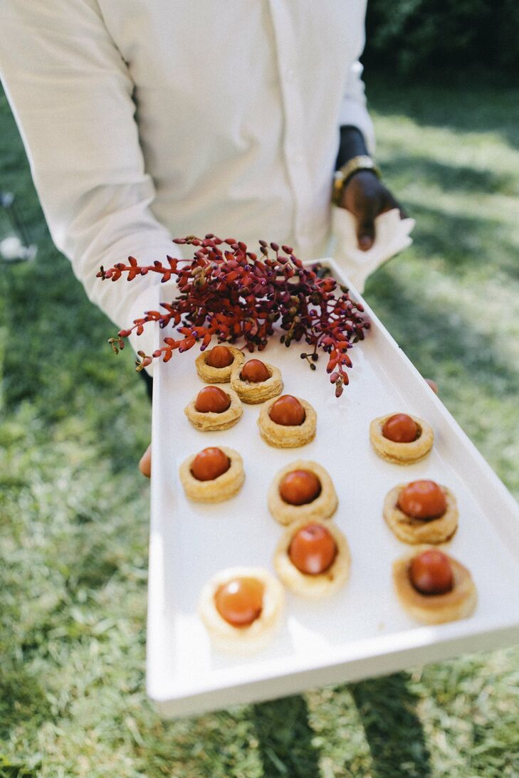 Lindsay's professional background is in culinary arts, so it was important for her to create a menu that wasn't typical wedding food, from the cocktail hour through their four-course dinner.