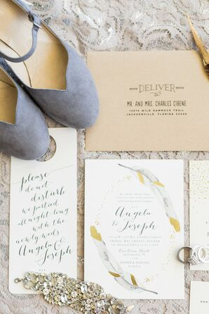 Neutral and Gold Invitation Suite With Feathers