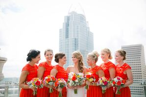 Short Sleeve Bright Orange Bridesmaid Dresses