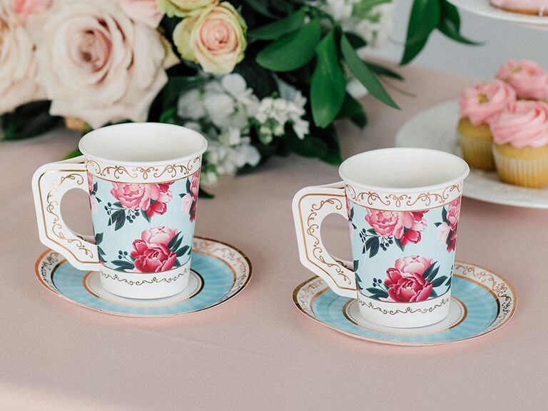 Paper teacups with baby blue background, pink florals and gold detailing