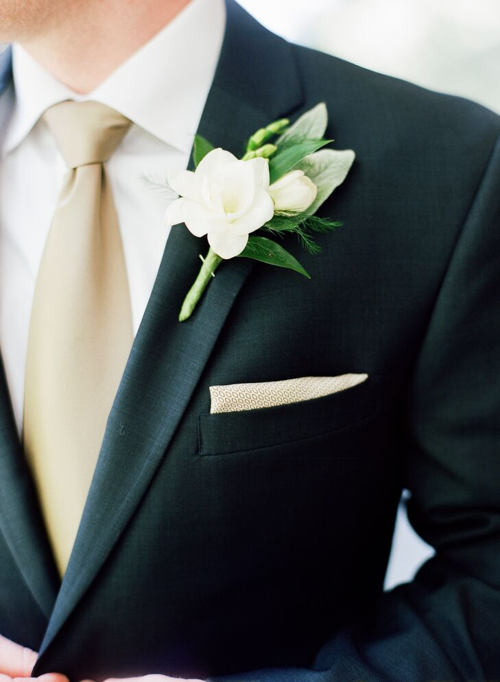 Gold Tie and Ivory Gardenia Boutonniere