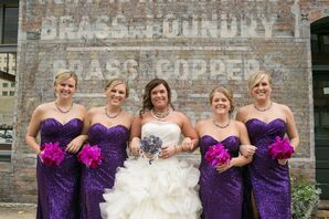 Purple Sequin Bridesmaid Dresses with Orchid Bouquets