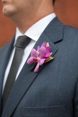 Purple Orchid Boutonniere