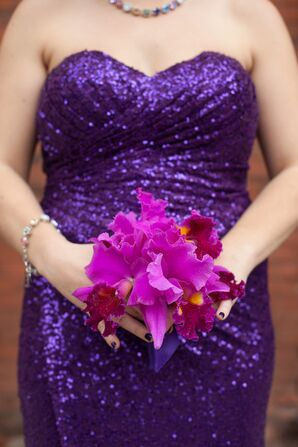 Sequin Purple Bridesmaid Dress with Orchid Bouquet