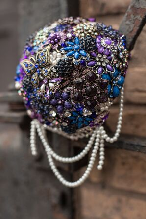 Blue and Purple Brooch Bouquet