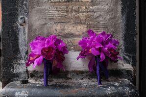 Orchid Bouquet with Purple Satin Bouquet Wrap