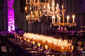 Purple and Gold Reception Decor with Chandeliers