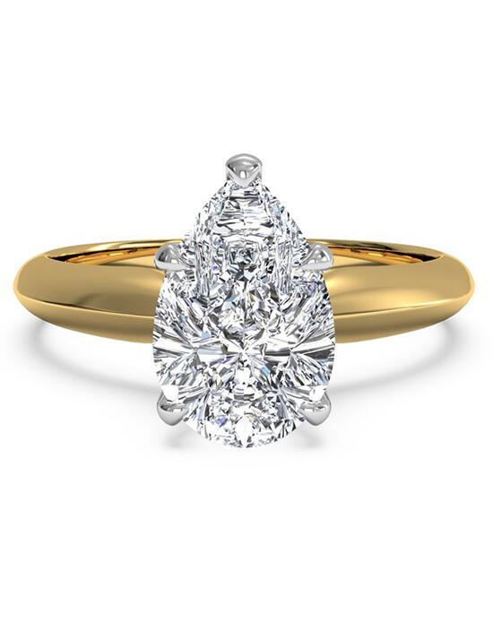 Ritani Solitaire Diamond Knife-Edge Engagement Ring - in 18kt Yellow Gold for a Pear Center Stone Engagement Ring photo