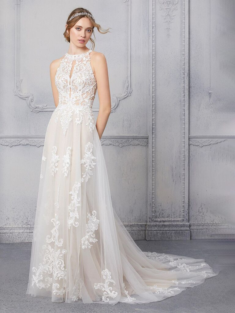 morilee white a line wedding dress with keyhole halter lace neckline and flowy tulle lace skirt