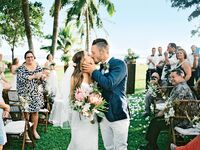 couple kiss at destination wedding