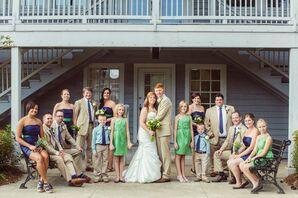 Preppy Navy, Khaki and Green Wedding Party