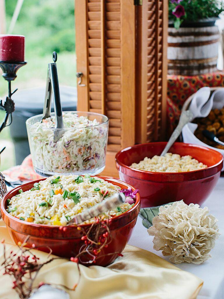 Chilled pasta bar idea for wedding reception food