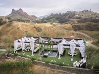Outdoor wedding reception at ranch in Malibu, California