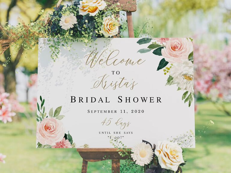 Personalized sign with florals, elegant type and name and date