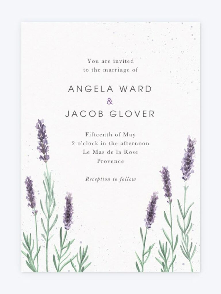 inexpensive wedding invitation with white background and lavender illustration