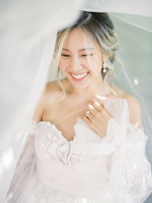Custom-Made, Off-the-Shoulder Wedding Dress with Billowy Sleeves