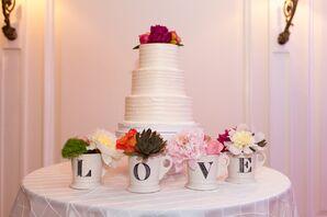 LOVE Mugs and White Wedding Cake