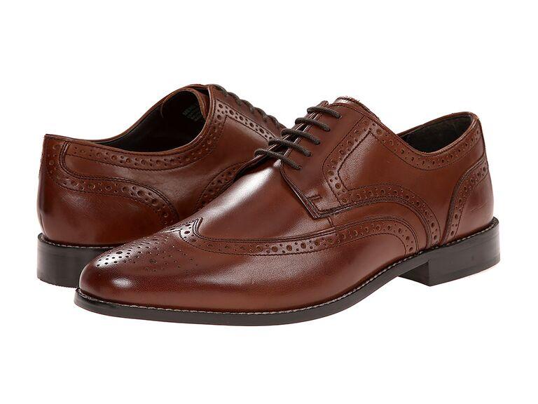 Nunn Bush Nelson Wingtip Oxford grey suit brown shoes