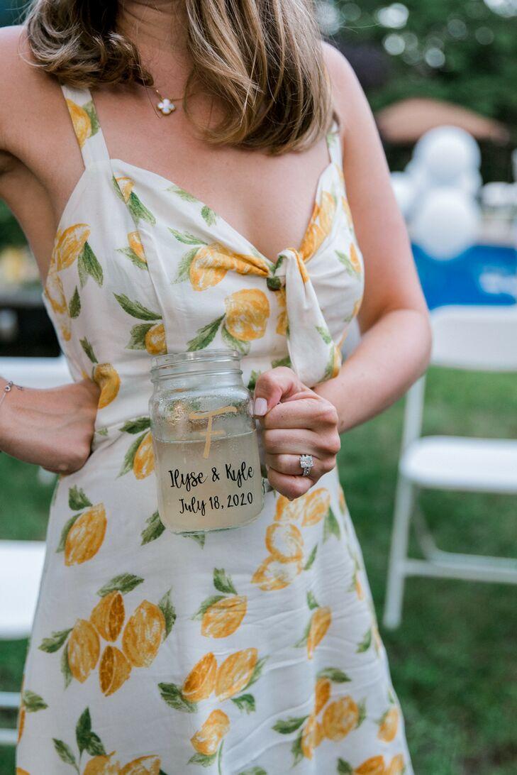 Lemon-Patterned Dress at Backyard Minimony in New York