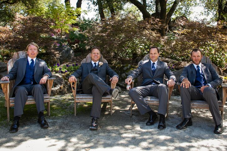 Groom and Groomsmen Sitting in Chairs