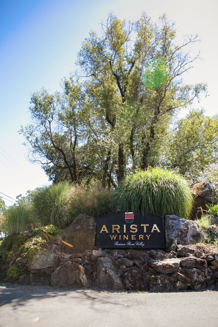 """""""The wedding took place at Arista Winery in Sonoma County,"""" says Kristin. """"We chose the location because we love Sonoma andrnwine country, and the property at Arista is simply gorgeous. We didn't need to add much to the scenery, we could just let the natural beauty of the setting come through."""""""