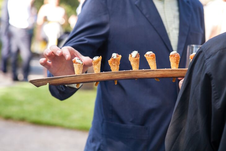 """""""After the toast, guests walked down to a separate area for a cocktail reception featuring ahi tartare in crispy cones and mahogany lacquered duck on sweet potatornpancakes,"""" says Kirstin."""
