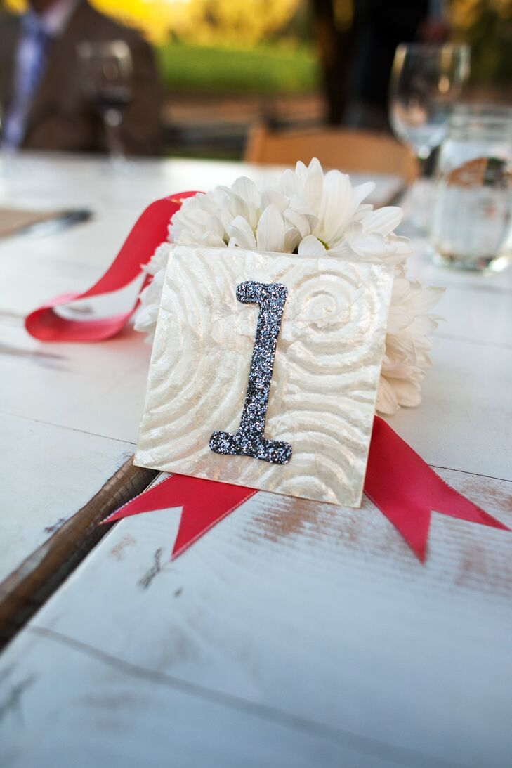 White Table Numbers With Red Ribbon
