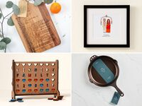Collage of four personalized wedding gifts