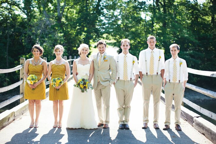 The bridesmaids wore short mustard-yellow dresses, while the guys went the casual route in khakis, suspenders and white shirts.