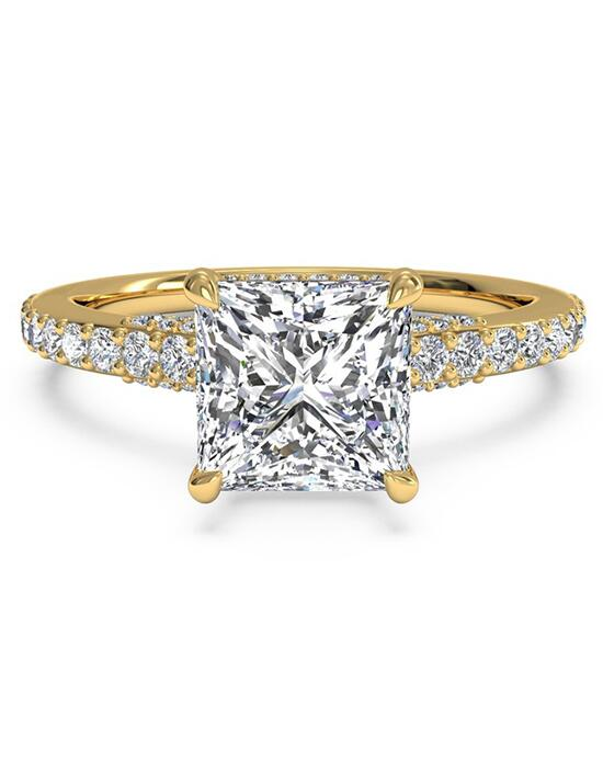 Ritani French-Set Diamond Band Engagement Ring - in 18kt Yellow Gold - (0.45 CTW) for a Princess Center Stone Engagement Ring photo