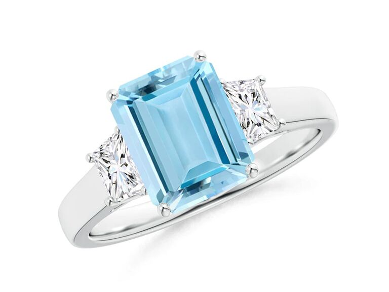 angara aquamarine silver engagement ring with diamonds with emerald cut