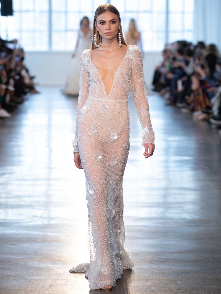 Berta Spring 2020 Bridal Collection long-sleeve plunging wedding dress