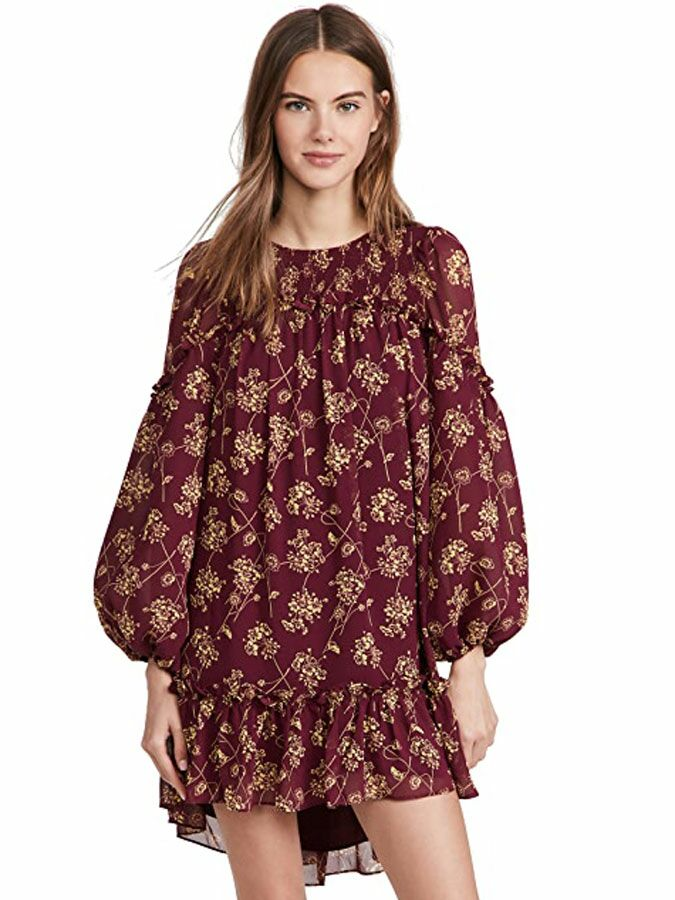 Maroon long balloon sleeve mini fall wedding guest dress with neutral floral print