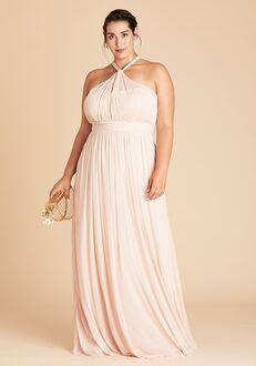 Birdy Grey Kiko Mesh Dress Curve in Pale Blush Halter Bridesmaid Dress