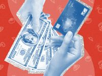graphic with hands holding money and a credit card