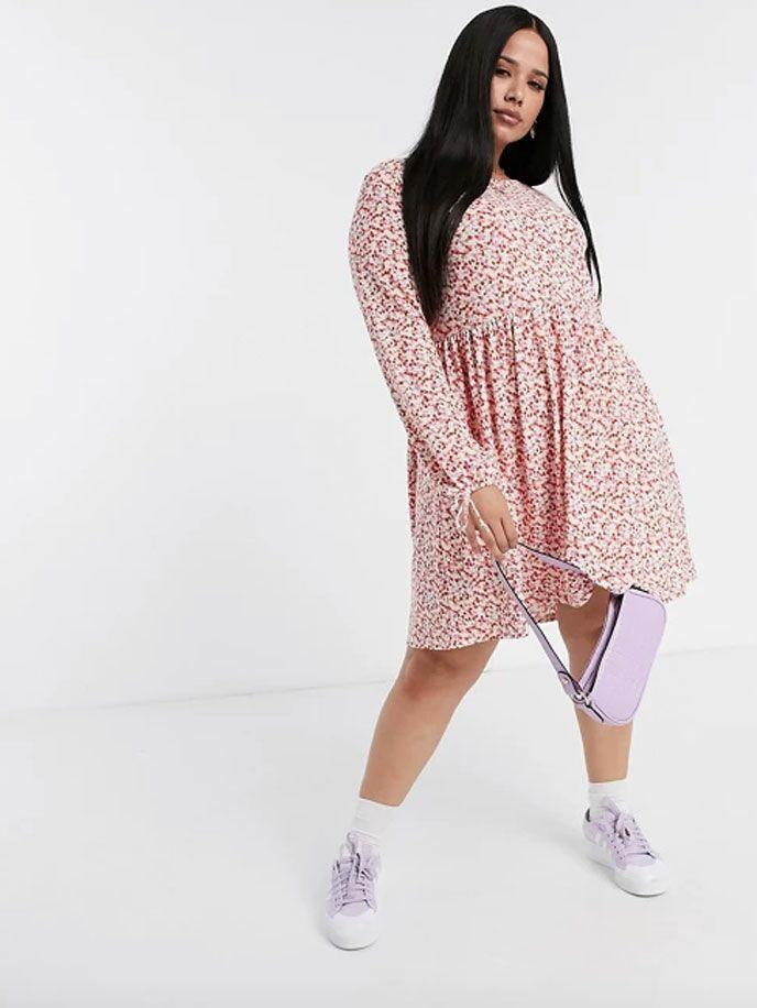 Pink floral long sleeve swing dress