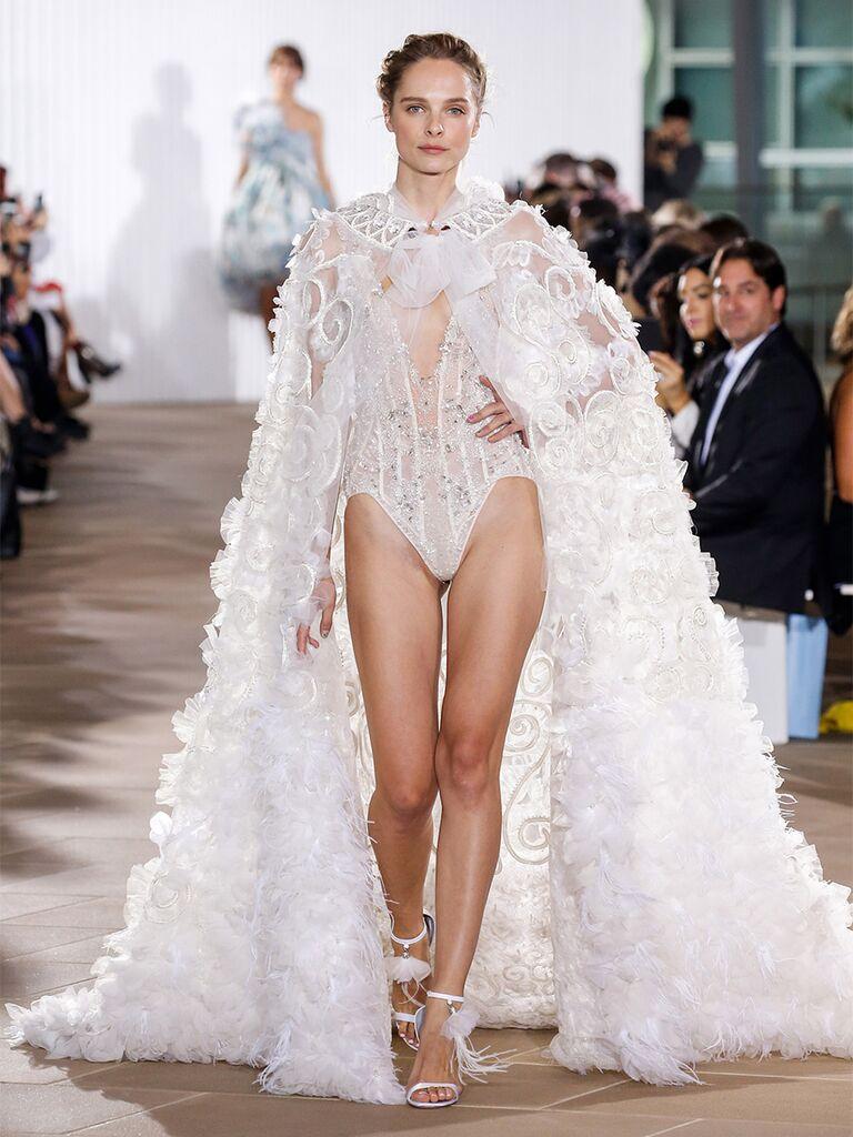 Two-Piece Wedding Dress Bodysuit with Cape