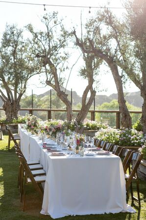 Romantic Outdoor Dining Table with White Linens at Cielo Farms in Malibu, California